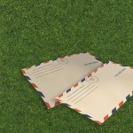 Letters air mail i on grass made in 3d software